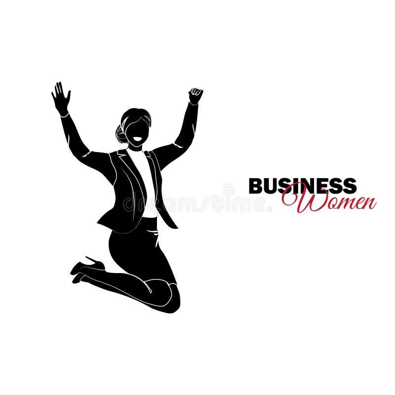 Mulher no terno de negócio A mulher de negócios que salta para a alegria ilustração royalty free