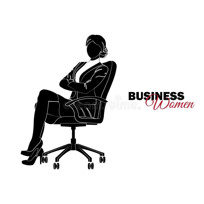 Mulher no terno de negócio A mulher de negócios senta-se em uma cadeira ilustração do vetor