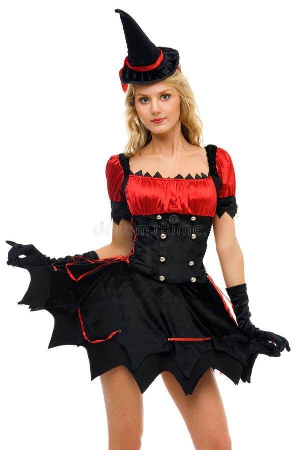Mulher no traje do carnaval. Forma da bruxa imagens de stock royalty free