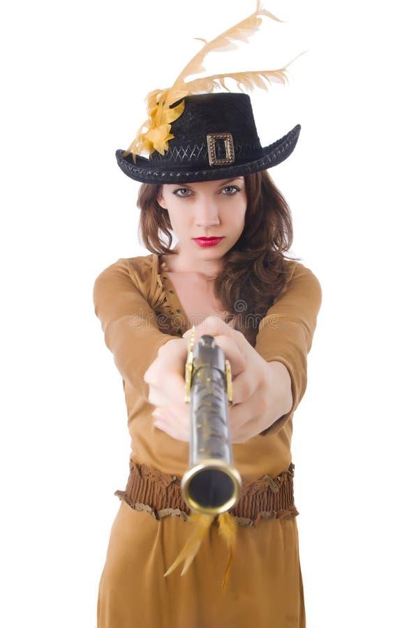 Mulher no traje do pirata isolado imagem de stock