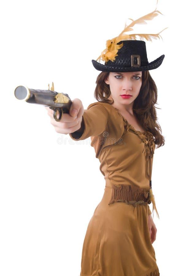 Mulher no traje do pirata isolado imagens de stock