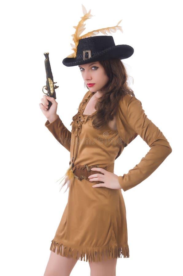 Mulher no traje do pirata isolado foto de stock