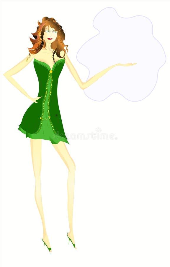 Mulher no verde, ilustração ilustração do vetor