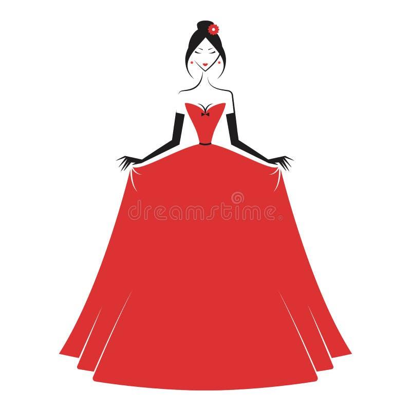 Mulher no vermelho do vestido de bola ilustração stock