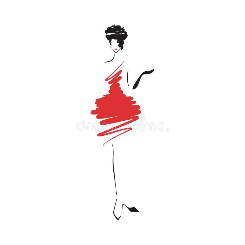 Mulher no vermelho do vestido de bola ilustração do vetor