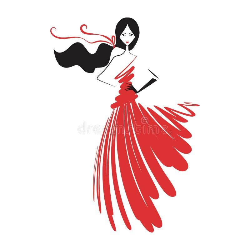 Mulher no vermelho do vestido de bola ilustração royalty free