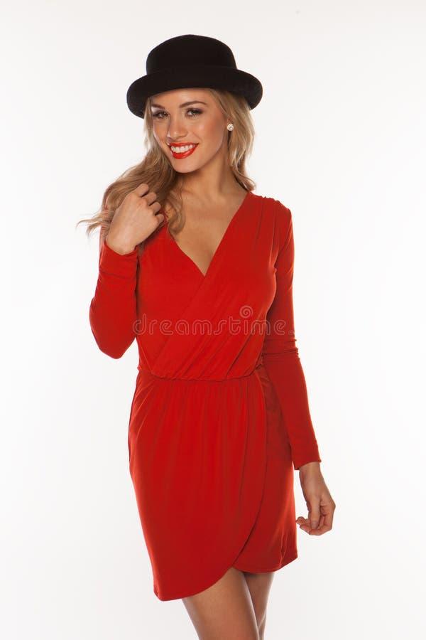 Mulher no vermelho isolado no branco imagem de stock royalty free