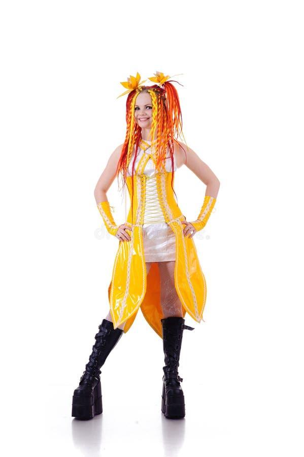 Mulher no vestido amarelo foto de stock royalty free