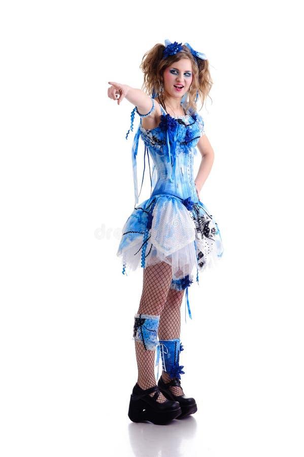 Mulher no vestido azul imagens de stock