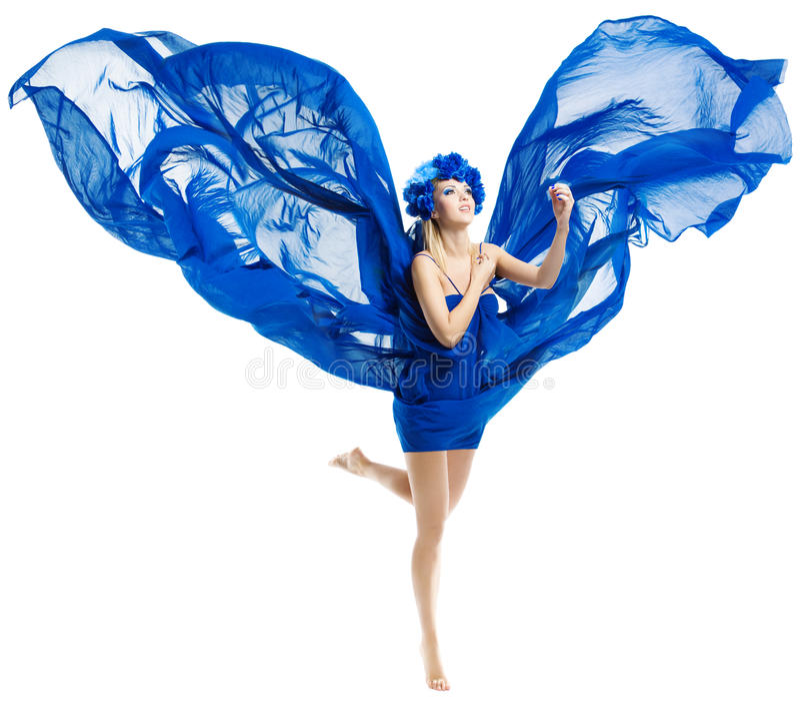 A mulher no vestido azul voa, acenando a tela de vibração imagem de stock royalty free
