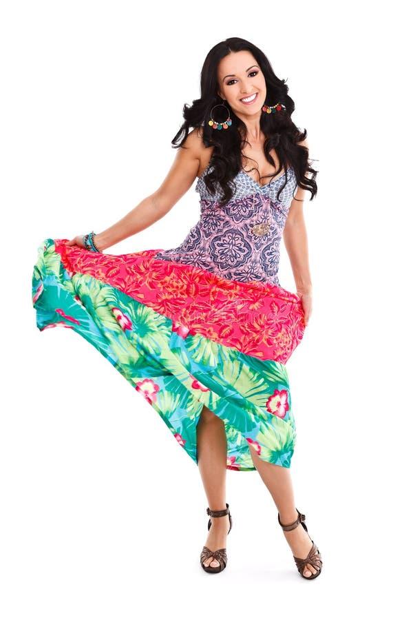 Mulher no vestido bonito do verão foto de stock