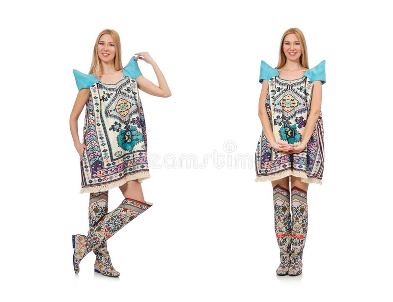 A mulher no vestido com as cópias orientais isoladas no branco fotografia de stock royalty free