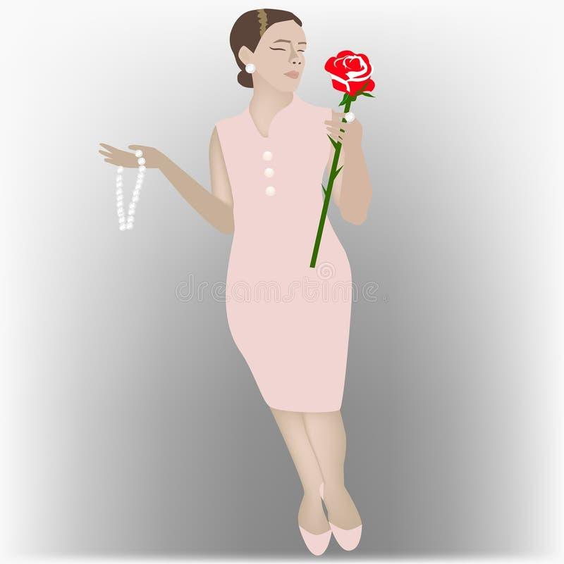 Mulher no vestido cor-de-rosa com diamantes e uma rosa imagens de stock