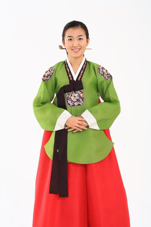 Mulher no vestido coreano fotografia de stock