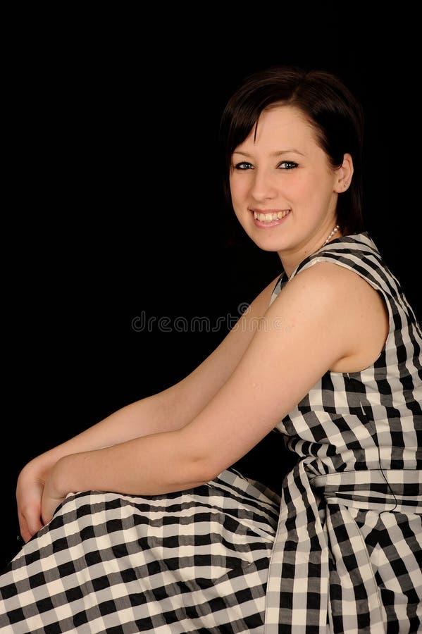 Mulher no vestido da manta imagem de stock