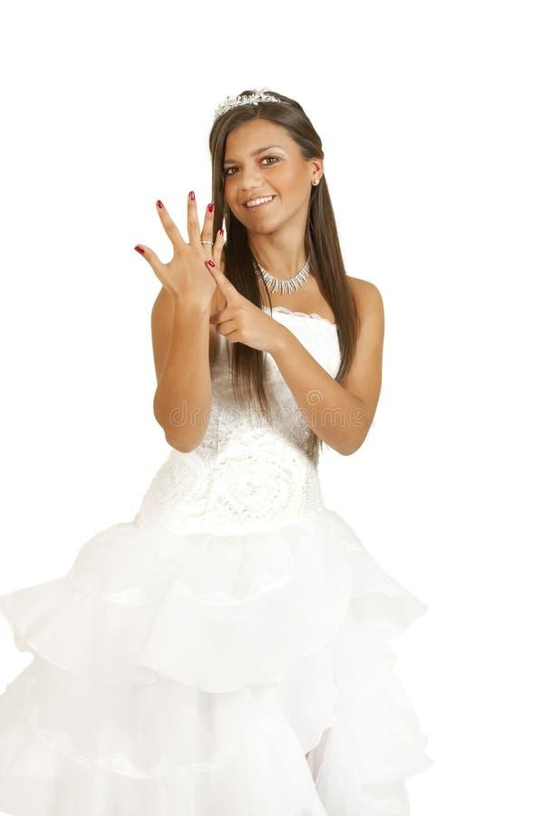 Mulher no vestido de casamento imagens de stock
