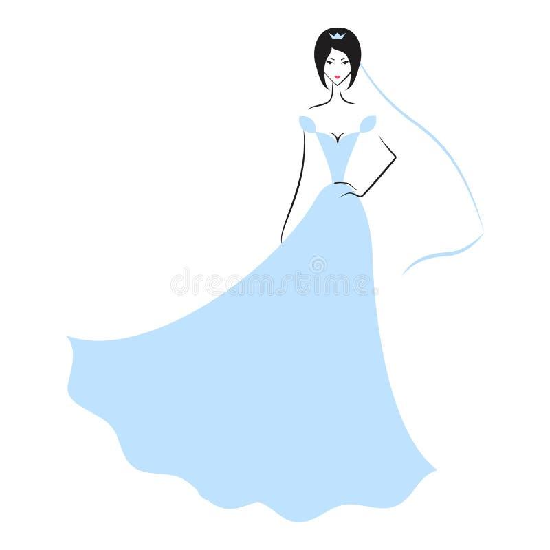 Mulher no vestido de casamento ilustração do vetor