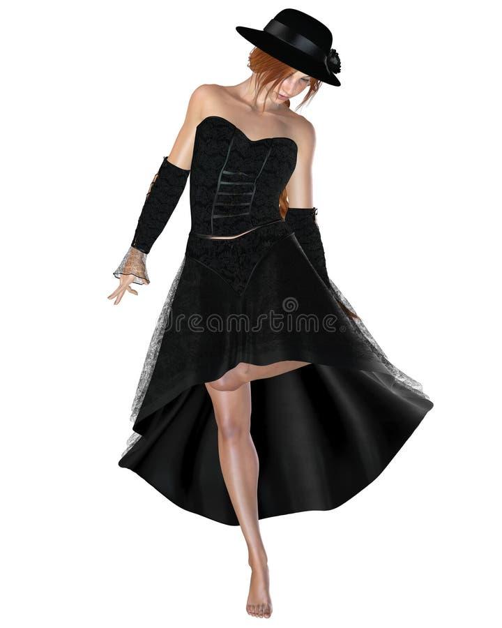 Mulher no vestido e no chapéu pretos ilustração do vetor