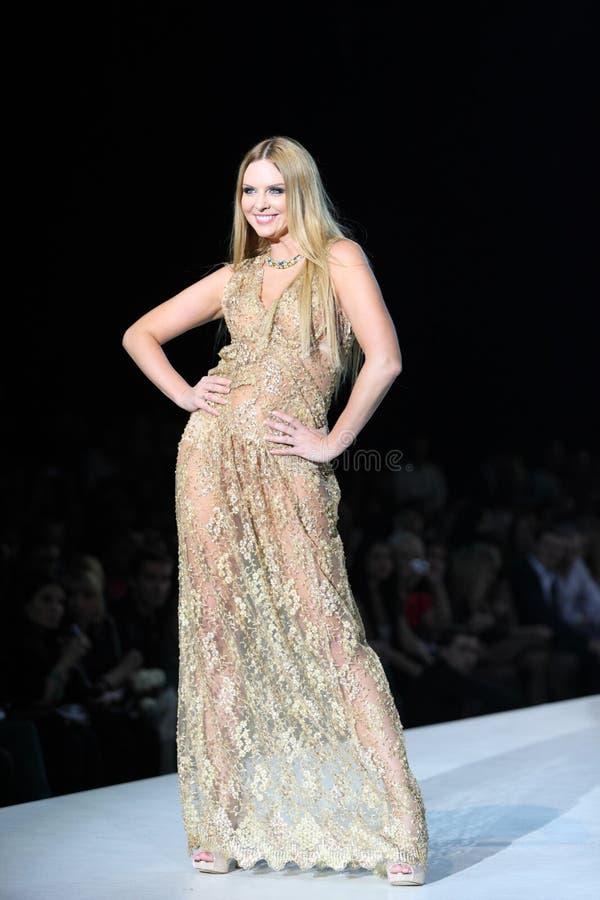 Mulher no vestido por Olga Ibragimova foto de stock royalty free