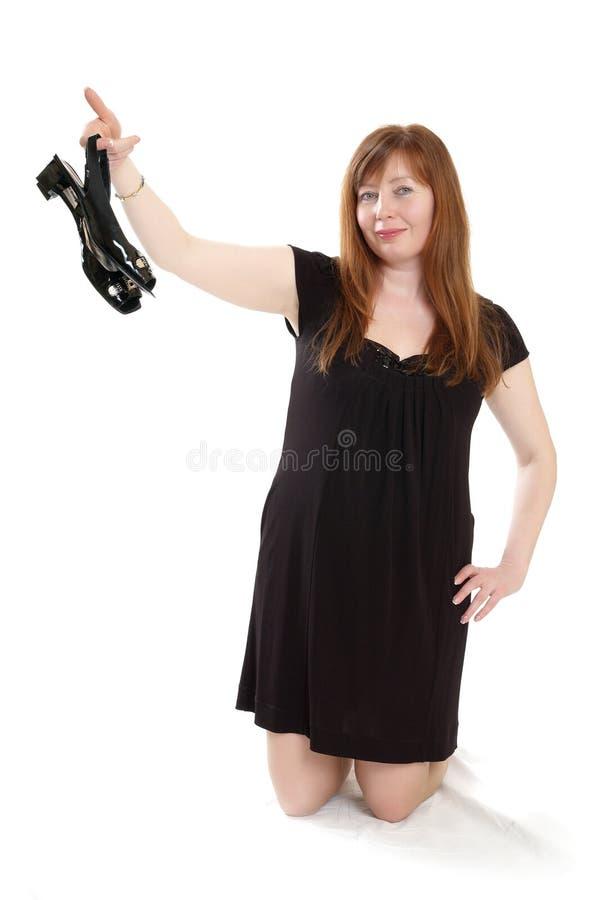 Download Mulher no vestido preto foto de stock. Imagem de agradável - 16851604