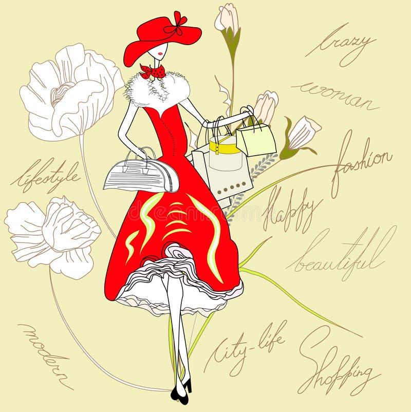 Mulher no vestido vermelho ilustração stock