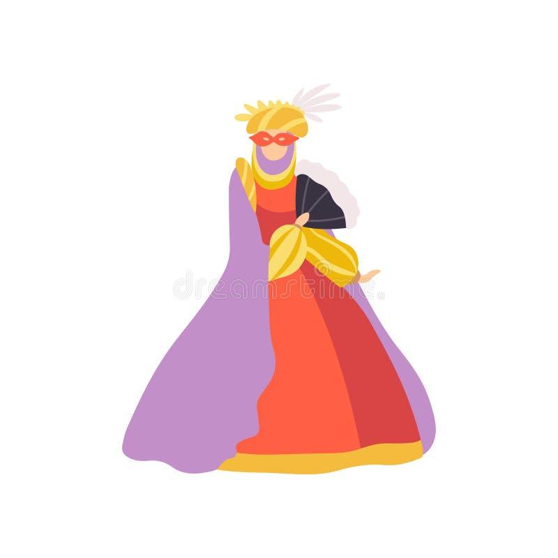 Mulher no vestido vermelho e máscara, carnaval de Veneza, ilustração do vetor do elemento do projeto da bola de disfarce ilustração do vetor