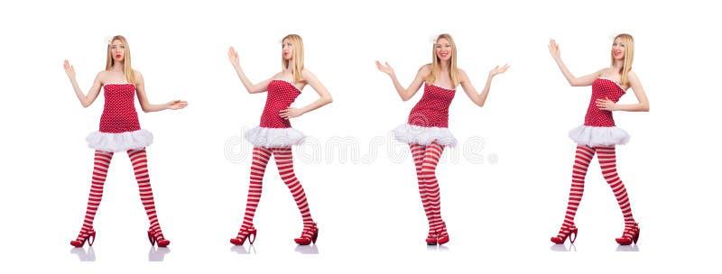 A mulher no vestido vermelho isolado no branco imagens de stock royalty free
