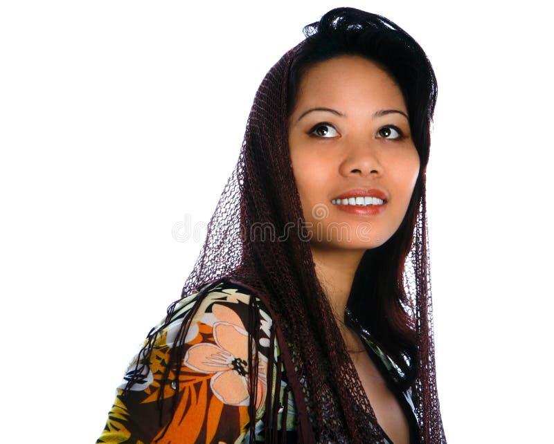 Mulher no xaile marrom foto de stock royalty free