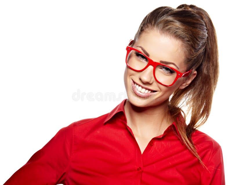mulher nos vidros fotografia de stock royalty free