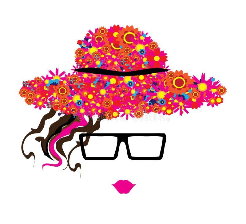 Mulher nos vidros e no chapéu com flores coloridas ilustração royalty free
