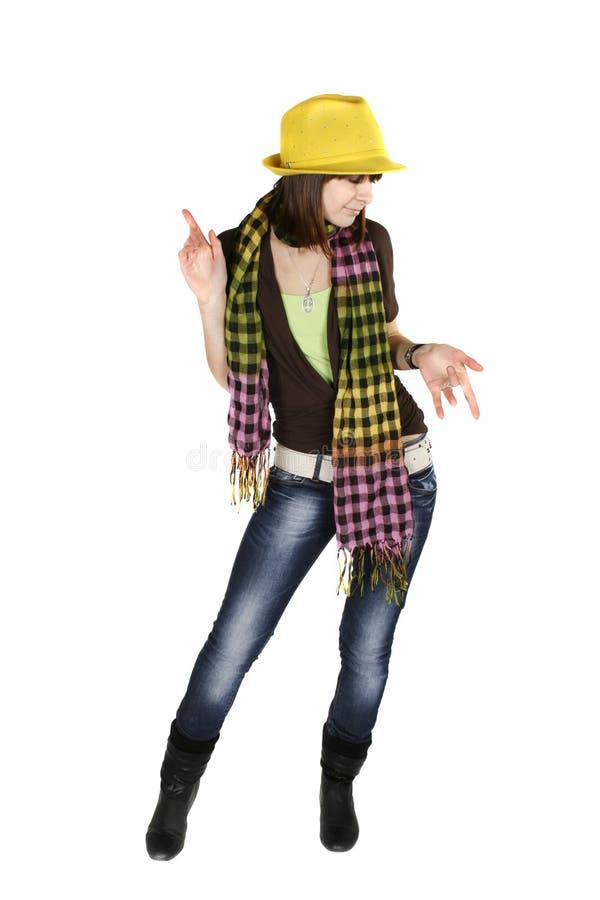 Mulher nova à moda de dança imagens de stock