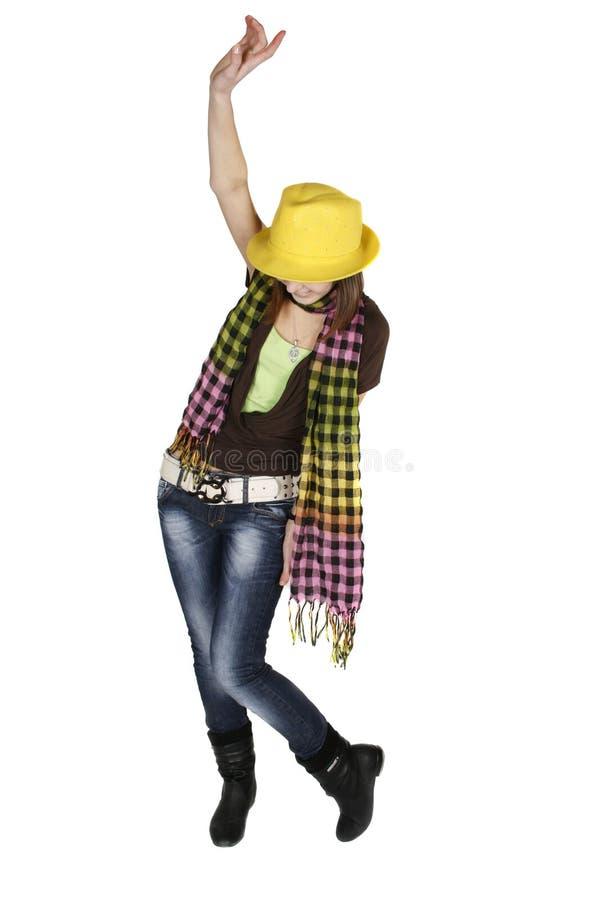 Mulher nova à moda de dança imagem de stock