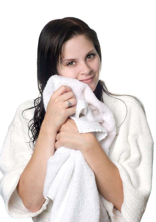 Mulher nova após o chuveiro fotografia de stock royalty free