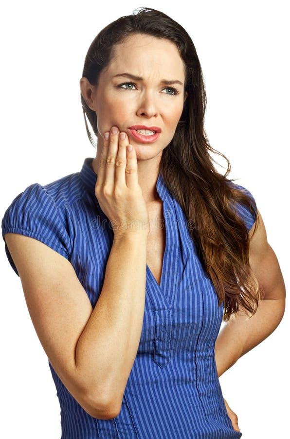 Mulher nova atrativa com toothache imagem de stock royalty free