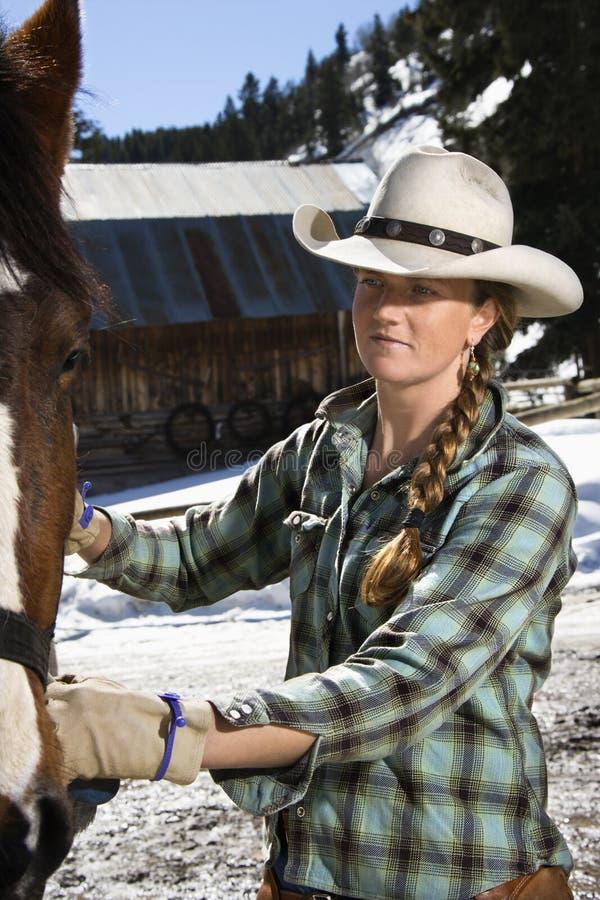 Mulher nova atrativa que Petting o cavalo imagem de stock