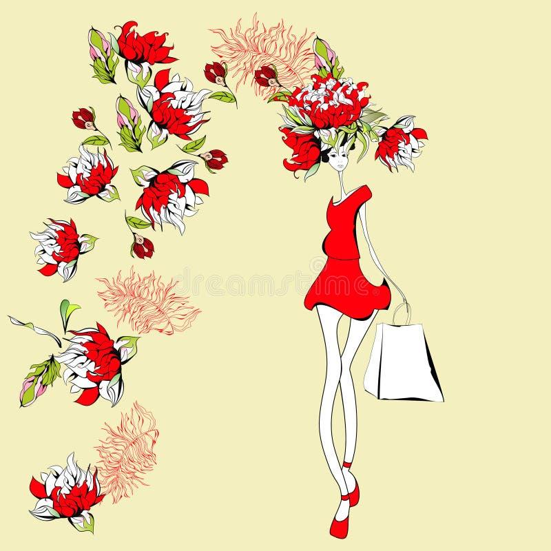 Mulher nova bonita ilustração royalty free