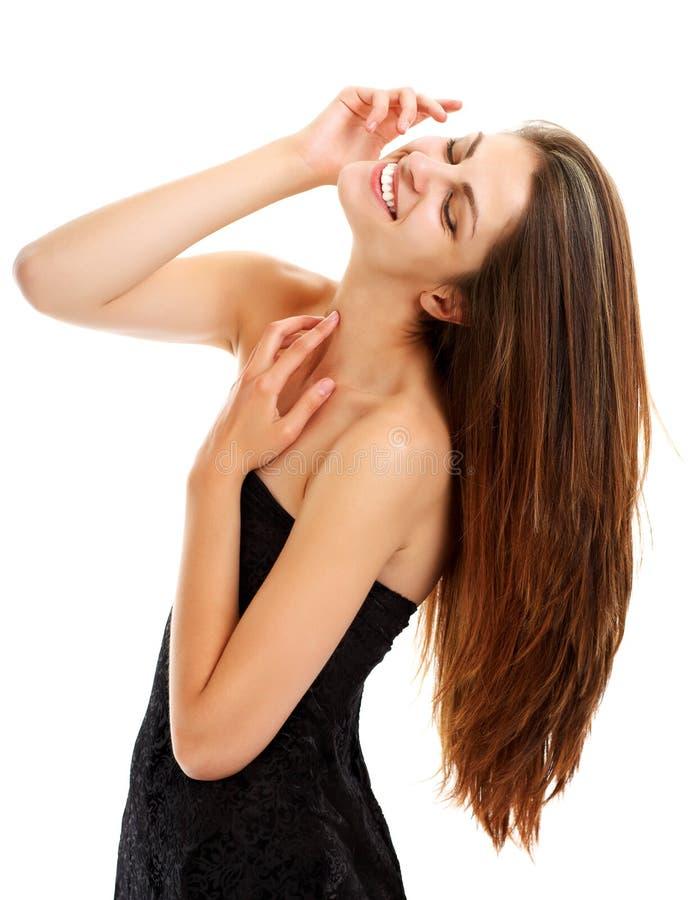 Mulher nova bonita com cabelo maravilhoso imagem de stock
