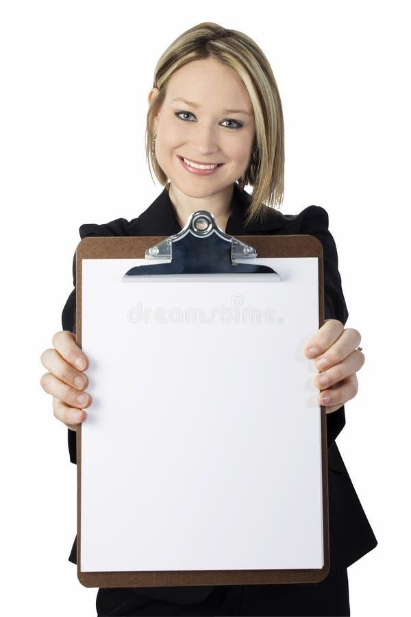 Mulher nova bonita com placa de grampo foto de stock