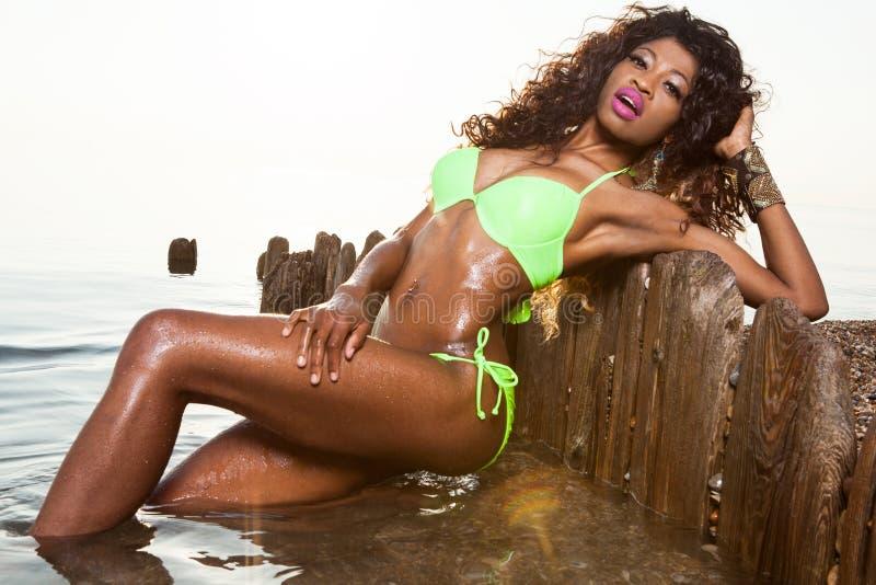 Mulher nova bonita do americano africano imagem de stock