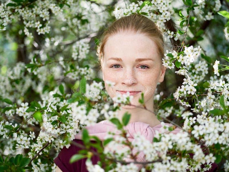 Mulher nova bonita do ruivo no jardim de florescência Feche acima do retrato fotos de stock