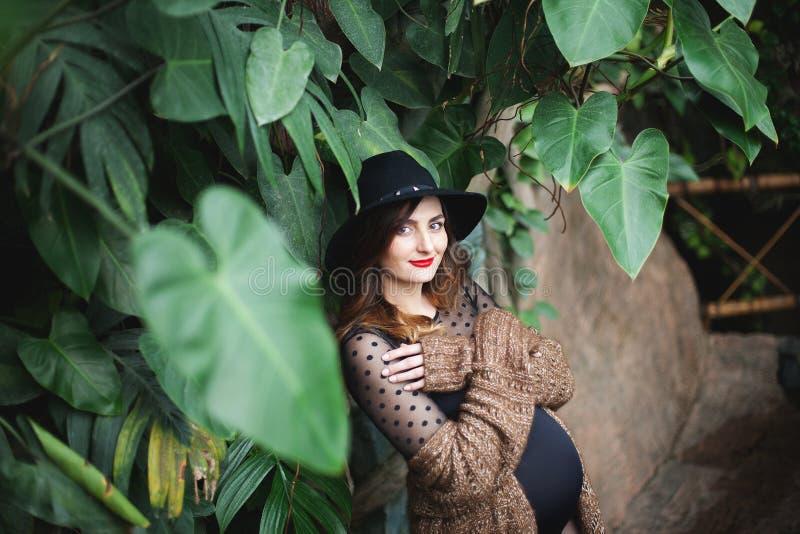 mulher nova bonita grávida em um chapéu fotos de stock