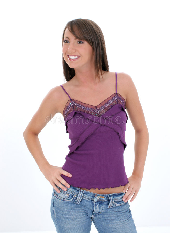 Mulher nova bonita na roupa ocasional foto de stock