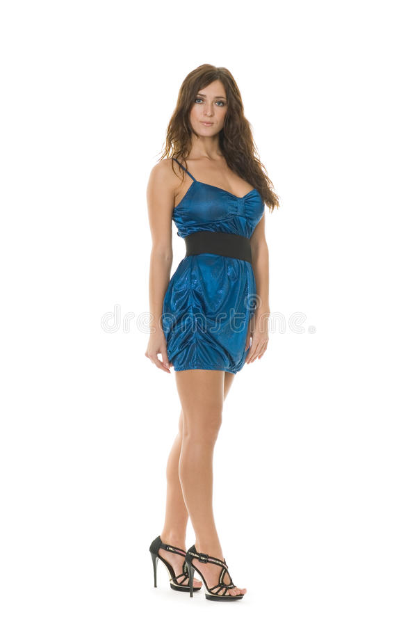Mulher nova bonita no azul imagem de stock