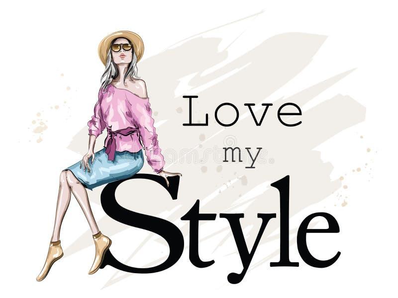 Mulher nova bonita no chapéu Assento da menina da forma Mulher à moda nos óculos de sol esboço ilustração stock