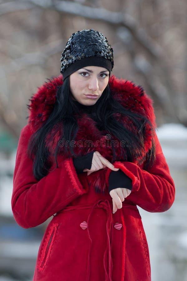 Mulher nova bonita no inverno imagem de stock
