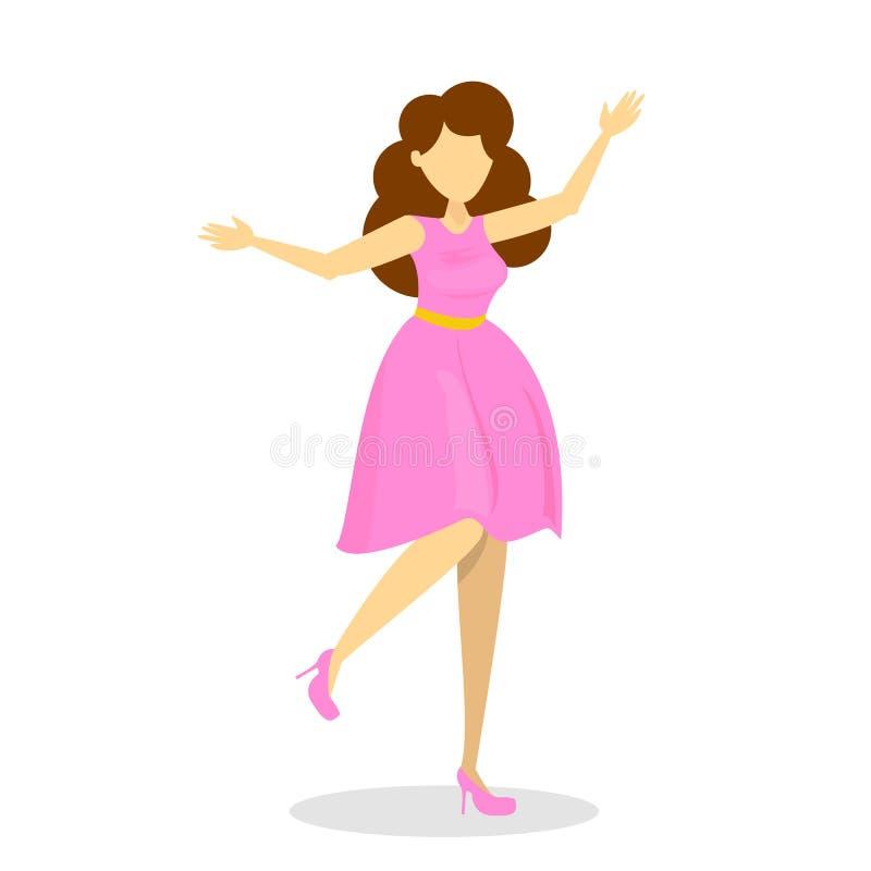 Mulher nova bonita no vestido cor-de-rosa Fêmea feliz ilustração do vetor