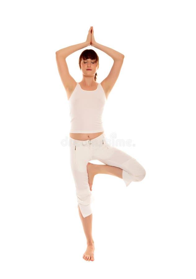 Mulher nova bonita que faz o exercício da ioga fotos de stock royalty free