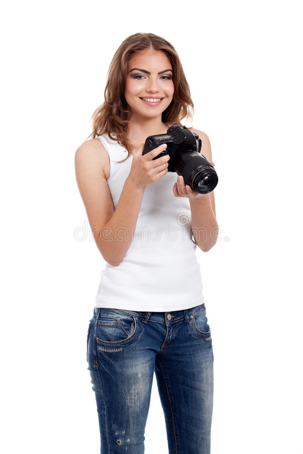 Mulher nova com câmera da foto foto de stock
