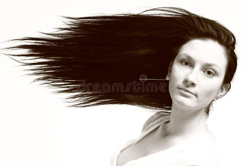Mulher nova com cabelo longo fotos de stock royalty free
