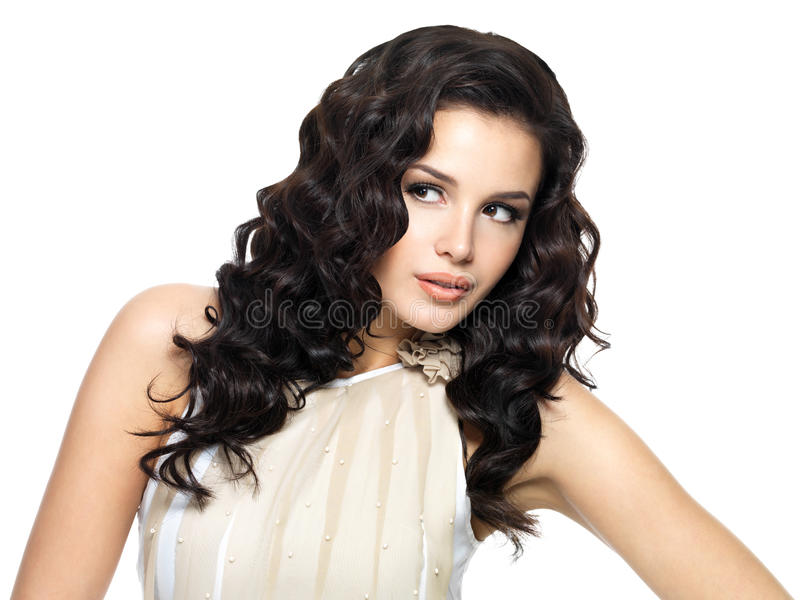 Mulher nova com cabelo longo da beleza. imagem de stock